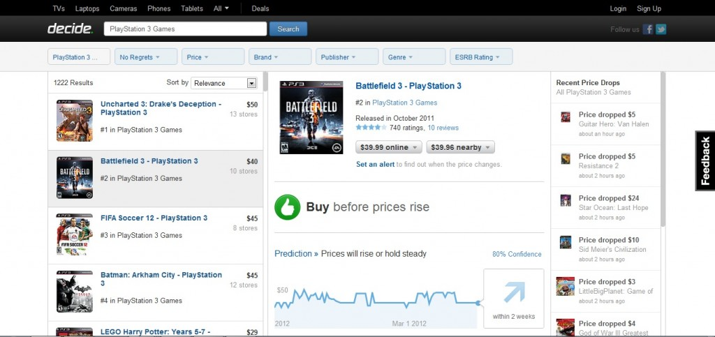 Decide.com says the time to pick up Battlefield 3 is now...