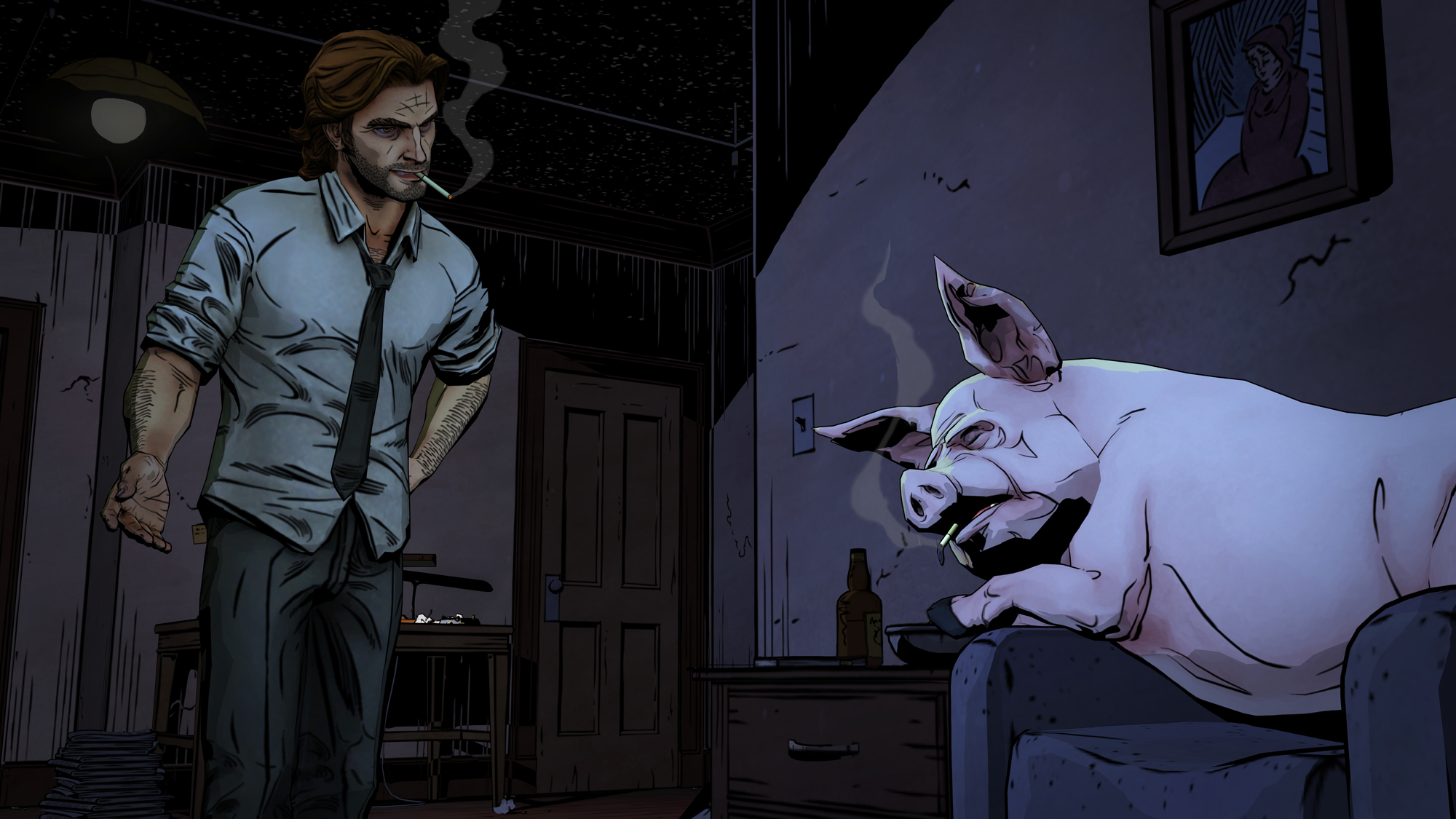 Bigby Wolf with Colin, one of the original Three Little Pigs.