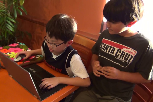 Children utilize Minecraft to stay in touch.