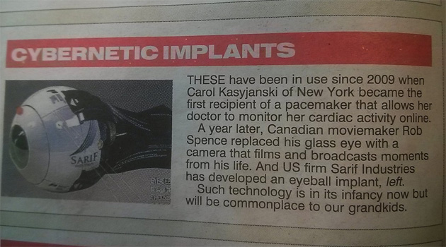 The Sun mistakes Deus Ex for real life.