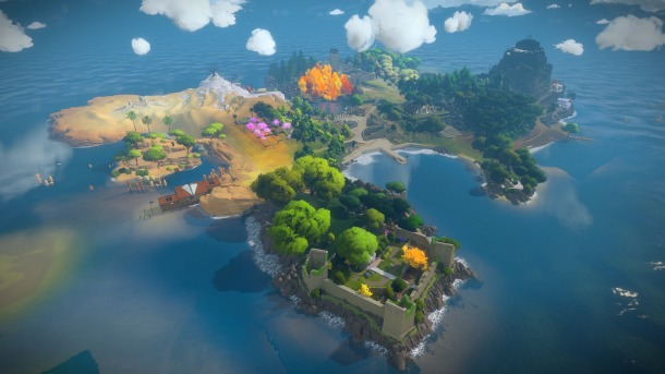 Jonathan Blow shows off puzzle in The Witness.