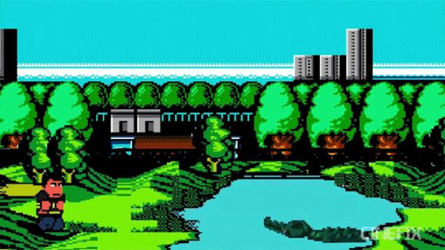 8-bit clip of Happy Gilmore.