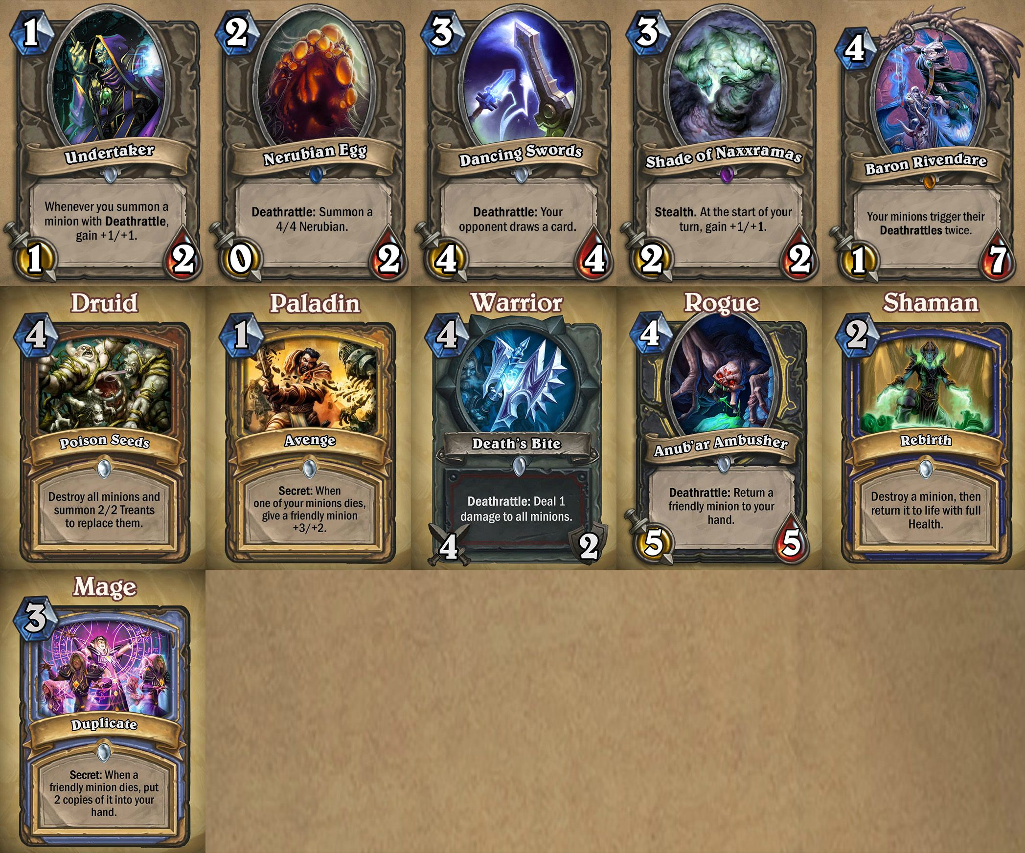Hearthstone Craft Naxxramas Cards