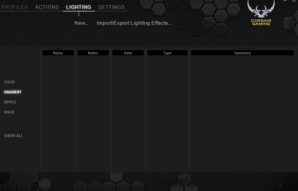 A glance at the Lighting screen in the Corsair Utility Engine.