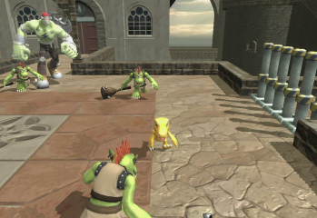 Agumon faces off against several minor foes in Digimon All-Star Rumble's Story Mode.