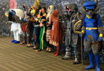 Official Sony Cosplay Lineup in front of the signature wall.
