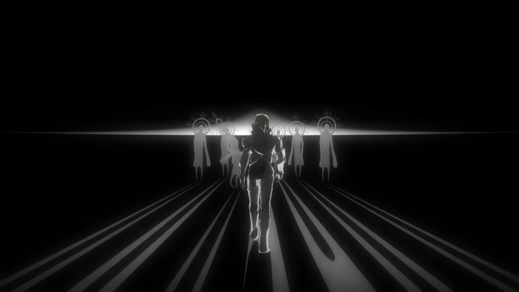 Enoch walks towards silhouttes of characters gathered around a light in the distance.