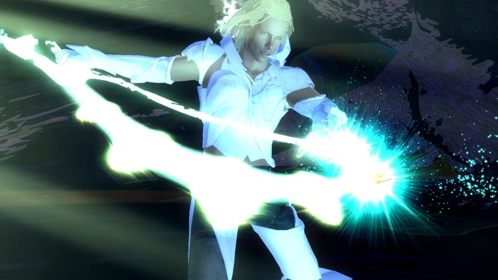 Enoch, a blonde haired, green eyed man, purifies a weapon. It glows with bright white light, complementing his white armor.